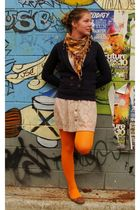 orange tights - beige Valley Girl dress - brown Novo shoes - purple Temt cardiga