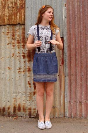 gray Dotti top - blue Dotti skirt - white Sportsgirl shoes - blue Ebay accessori
