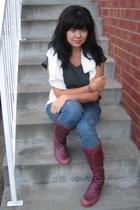 vintage sweater - supre t-shirt - vintage belt - doc martens boots