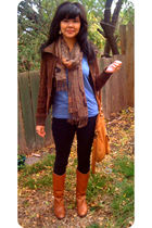 brown madewell boots - black jeans - brown jacket
