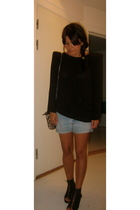 Zara blouse - Levis Vintage Collection shorts - acne shoes - Chanel accessories
