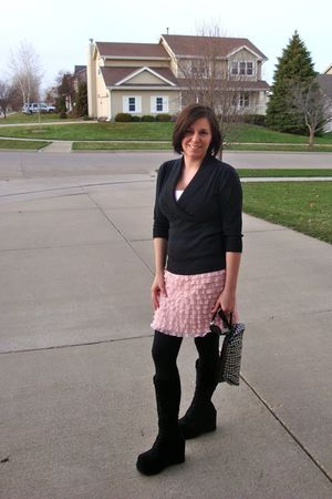 black boots - black leggings - pink xhilaration skirt - gray shirt - pink top -