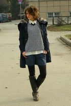 navy NewYorker jacket - dark brown Bata boots - white Oviesse shirt