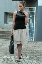 black Aldo bag - black Todor top - beige diy skirt