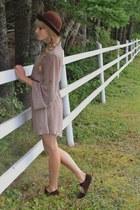 tan thrifted dress - dark brown thrifted hat - dark brown Spring flats