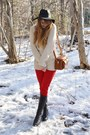 Black-vintage-boots-red-thrifted-jeans-white-thrifted-sweater