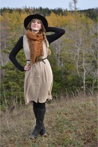 beige thrifted dress - black thrifted hat - black Jacob sweater