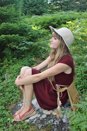 cream thrifted hat - maroon Oneil dress - tawny thrifted bag