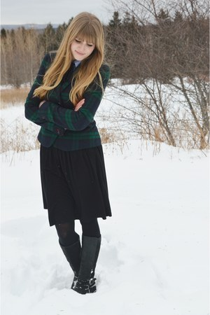 blue thrifted shirt - navy Gap blazer - black thrifted skirt
