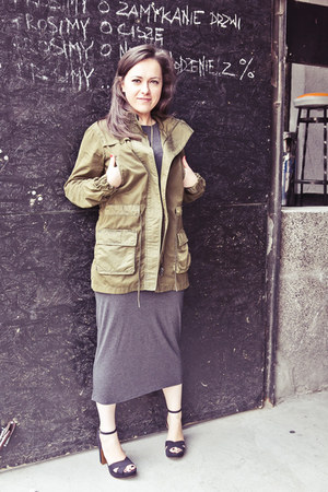 dark khaki Zara jacket - charcoal gray Topshop dress