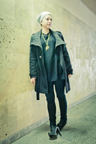 black Balmain old boots - black H&M sweater - black H&M blouse - black H&M pants