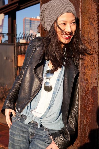 biker jacket Topshop jacket - Gap jeans - slouchy beanie Joe Fresh hat