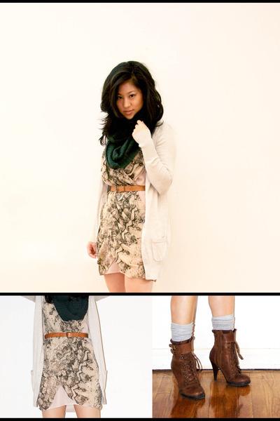 beige H&M dress - brown Aldo boots - forest green H&M scarf