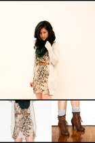 beige H&M dress - brown Aldo boots - forest green H&M scarf