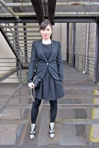 black Mango dress - heather gray Basilia Italy boots