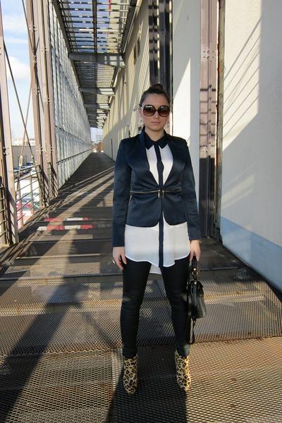 dark brown leopard print Mango sunglasses - dark brown Zara boots
