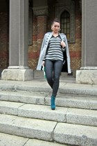teal Fashion Pymes Italy boots - heather gray military style Zara coat