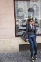 navy denim Zara jeans - black snakeskin print Basilia Italy boots