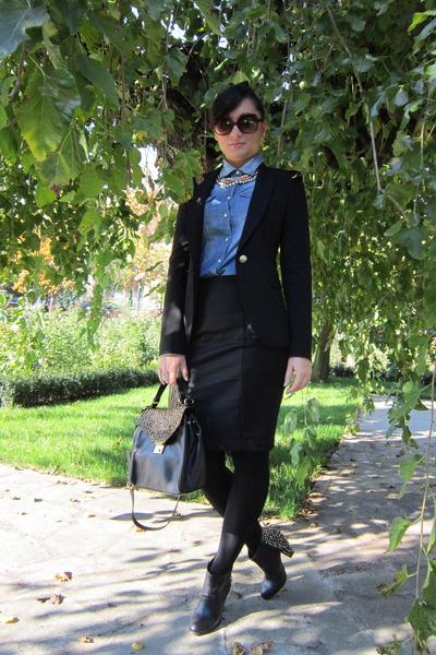 black Zara blazer - black Zara Trf boots - sky blue denim shirt Terranova shirt