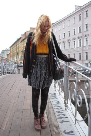 vintage boots - russian market tights - thrifted skirt - vintage belt - vintage