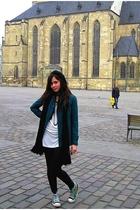 Promod coat - H&M blouse - random brand leggings - Converse shoes - H&M - random