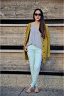 Light-blue-zara-pants-chartreuse-bcbgeneration-cardigan-tan-zara-heels