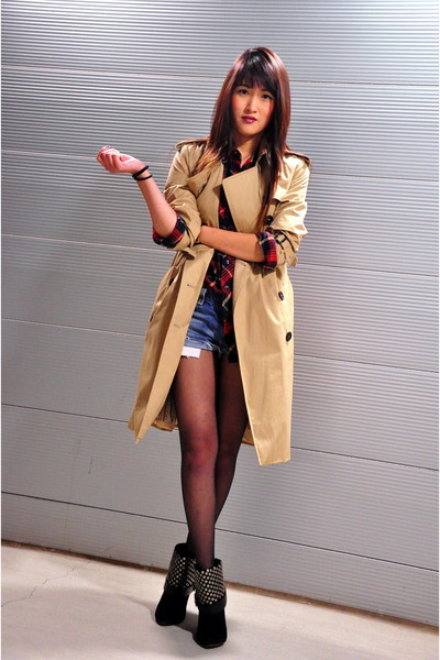 brown Burberry coat - black RoseGold shoes - red Urban Outfitters shirt