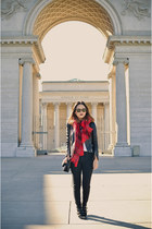 black Zara jacket - brick red hm scarf - black Zara pants