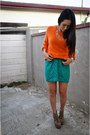 Teal-vintage-skirt-light-brown-litas-jeffrey-campbell-boots