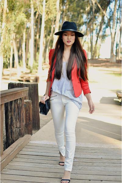 black Urban Outfitters hat - red hm blazer - white Zara pants