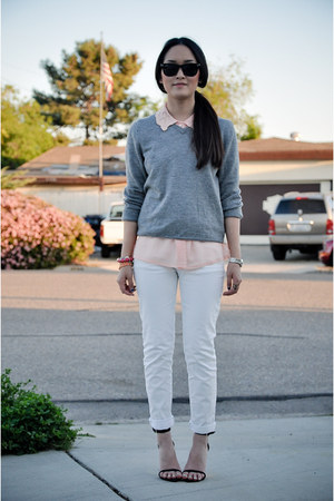 light pink floral lace thrifted vintage shirt - white white Zara pants