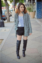 heather gray cotton on coat - black hm boots - white hm shirt