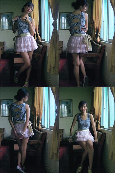 top - pink Gingersnaps skirt - Vans shoes - gold Sari-sari belt - white accessor