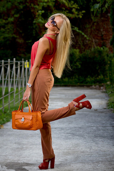 carrot orange Furla bag - dark brown Gucci sunglasses - brick red Carvela heels