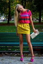 Zara blouse - YSL bag - Zara skirt - Casadei heels