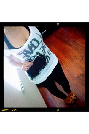 black Wet Seal top - white Forever 21 top - black Forever 21 jeans - black BCBG