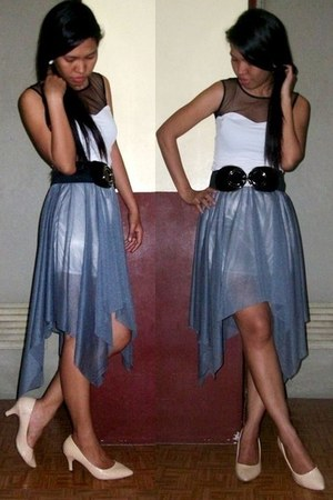 white blouse - periwinkle skirt - black belt - neutral heels