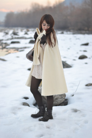 white handmade cape - white H&M dress