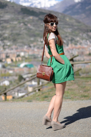 green Zara dress - dark brown OASAP bag