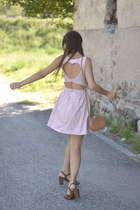 light pink Bershka dress - light brown vintage bag