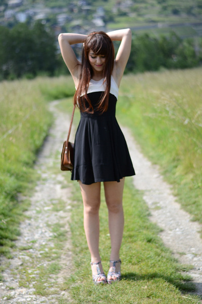 black Sheinside dress - Baby Angel wedges