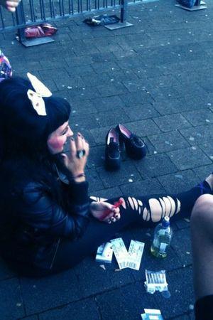 black unknown brand stockings - black unknown brand jacket