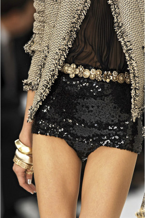 charcoal gray YSL shorts - black Chanel accessories