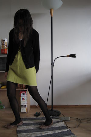 black Esprit cardigan - green skirt - black Primark tights - brown H&M shoes