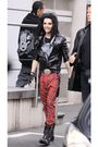 Black-jacket-black-t-shirt-red-pants-black-boots-black-accessories-sil