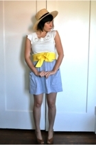 yellow sash American Apparel belt - beige wood wedge thrifted vintage shoes