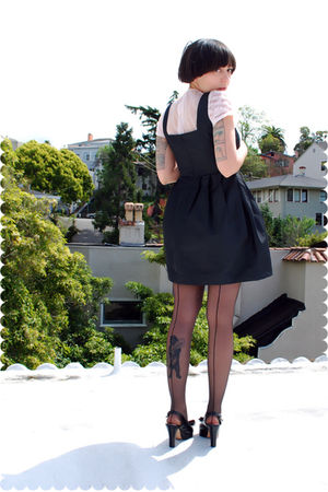 pink blouse - black modcloth chictopia dress - black stockings - black shoes