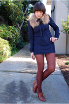brown accessories - blue charley dress - brown Target stockings - brown seychell