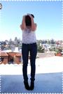 Gray-jcrew-cardigan-beige-blouse-blue-indidenim-jeans-black-payless-shoes-