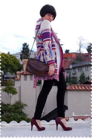 black PacSun jeans - purple Nine West shoes - brown vintage coach bag